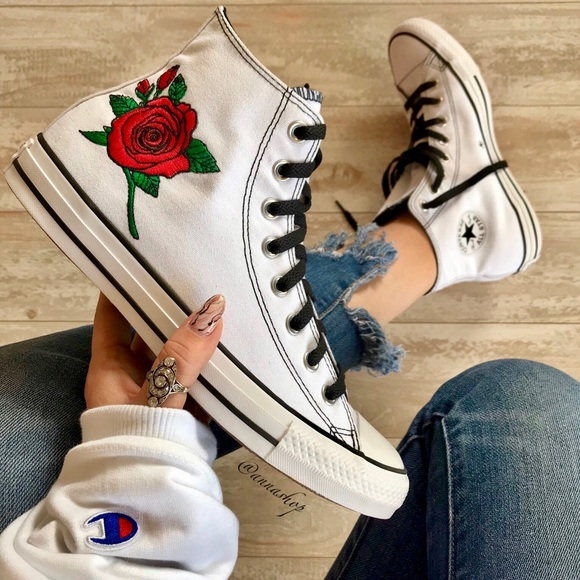 75d6c0c5b1aac8 Converse Shoes - Converse🌹 ID Custom High tops floral embroidery